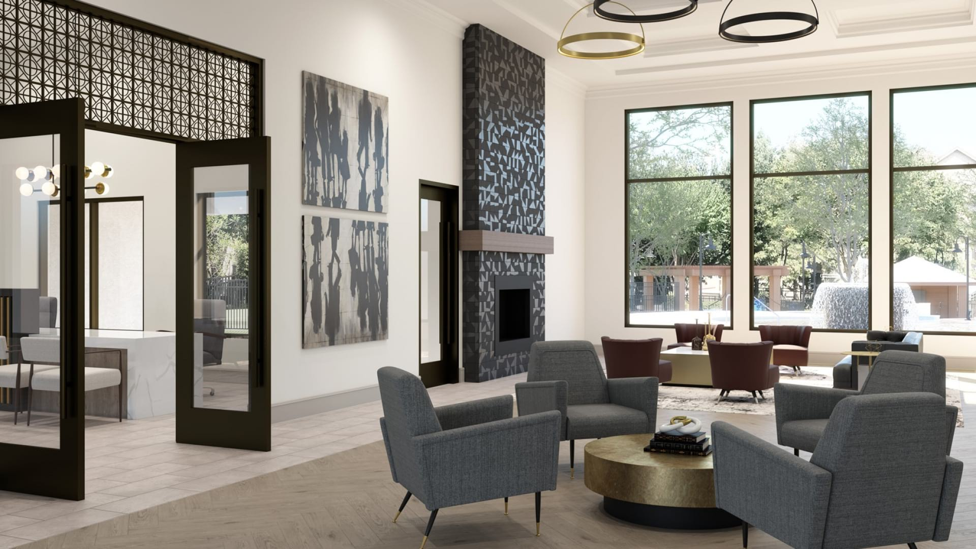 Cortland Bear Creek resident clubhouse with modern seating and decor