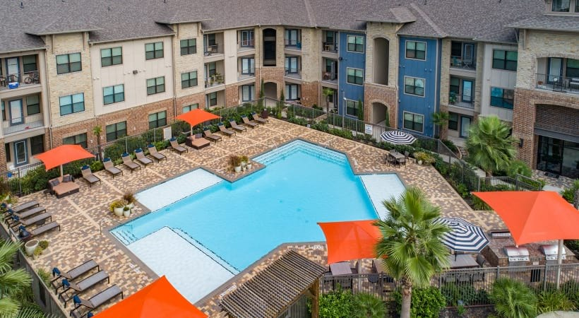 Aerial view of Cortland Cinco Ranch's resort style pool