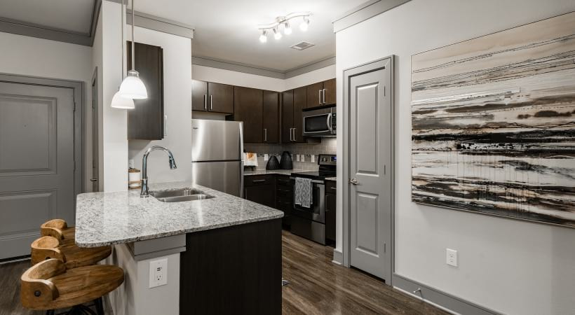 Luxury kitchen at apartments for rent in Katy, TX