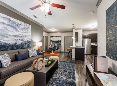 Luxury apartment living room at Cortland Cinco Ranch