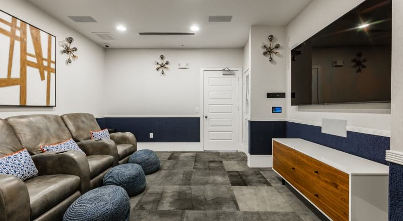Cinema theater room at apartments in Cinco Ranch, TX