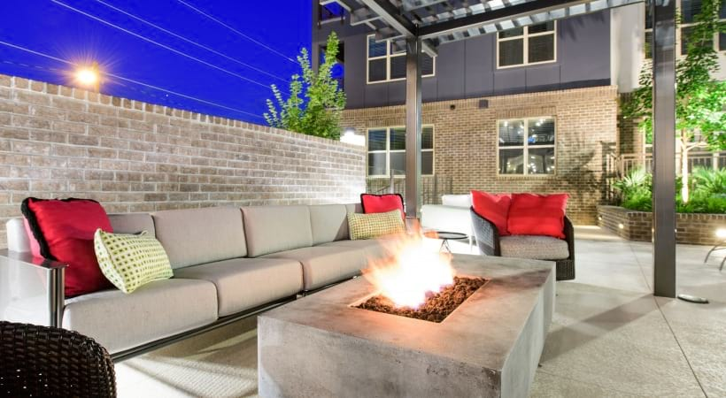 Outdoor fire pit at our luxury apartments in Downtown Durham, NC