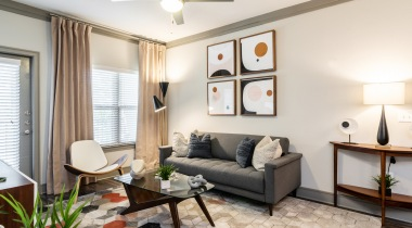 Luxury apartment living room at Cortland Huntersville