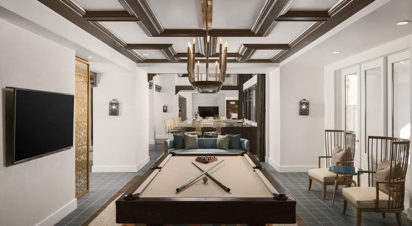 Billiards table at luxury apartments in Phoenix, AZ