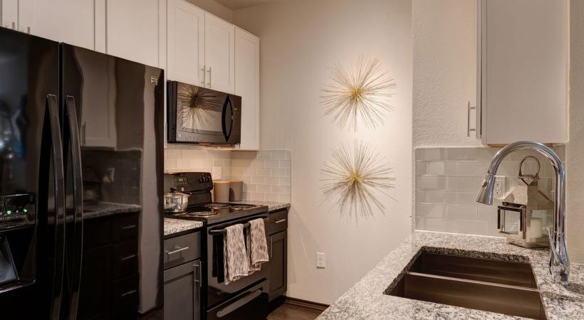 Energy-efficient, black kitchen appliances at our Far West Side San Antonio apartments