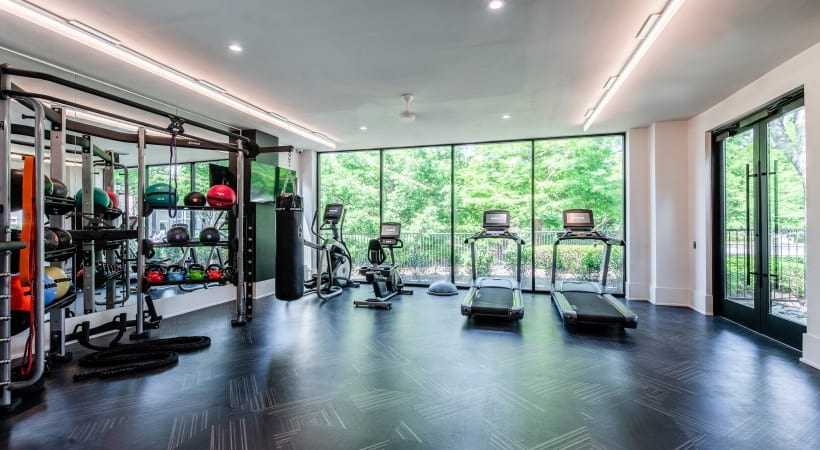 Fitness center at apartments near Fort Worth, TX