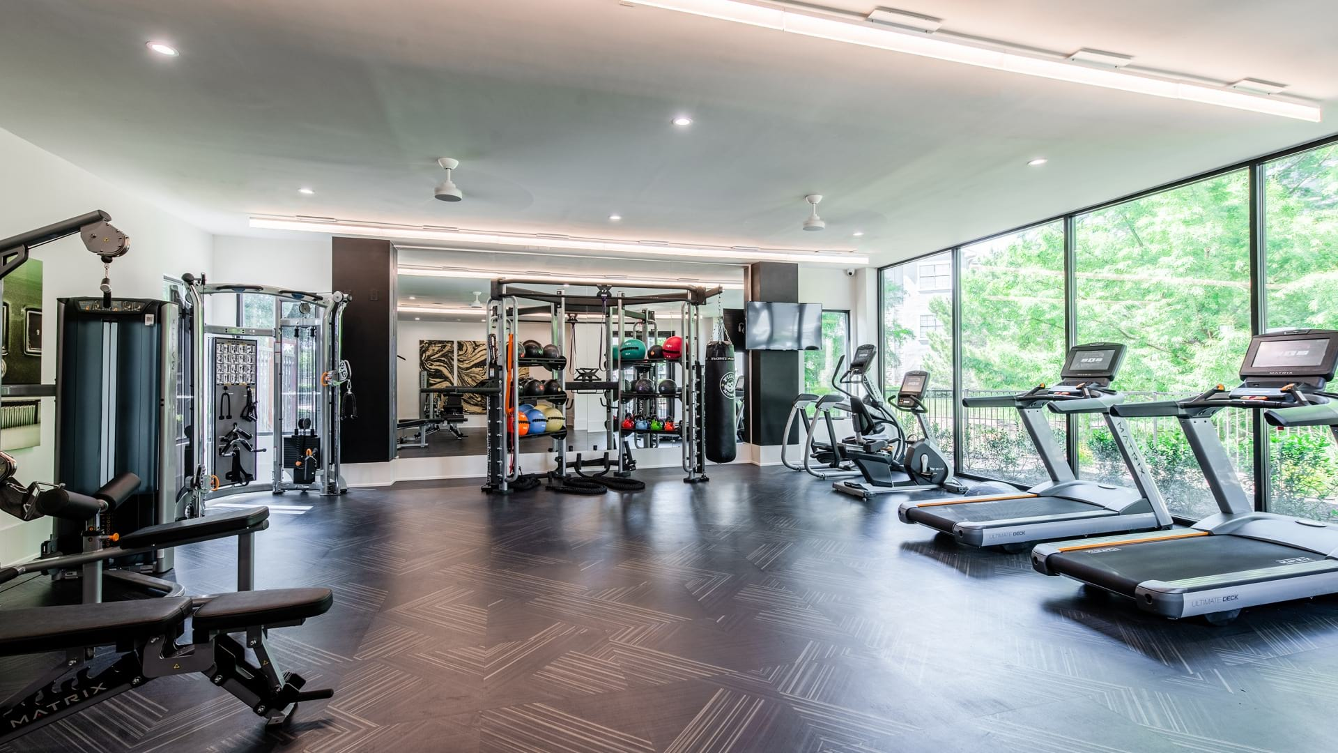 Fitness center at apartments in Fort Worth, TX
