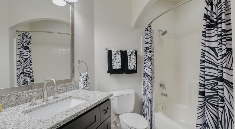 Modern apartment bathroom at Willowbrook apartments for rent