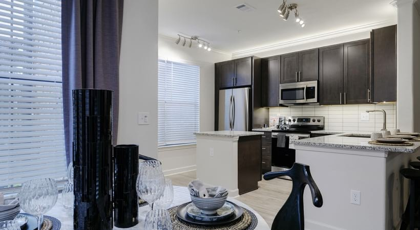 Luxury apartment kitchen at The Tradewinds at Willowbrook