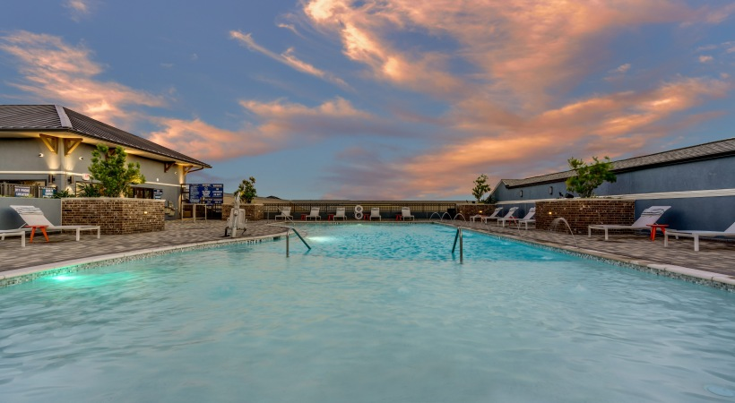 Our rooftop, saltwater pool with sundecks at our Circa Frisco apartments near Legacy West