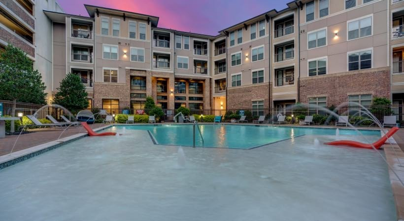 Resort-style pool at our luxury apartment in Frisco, TX