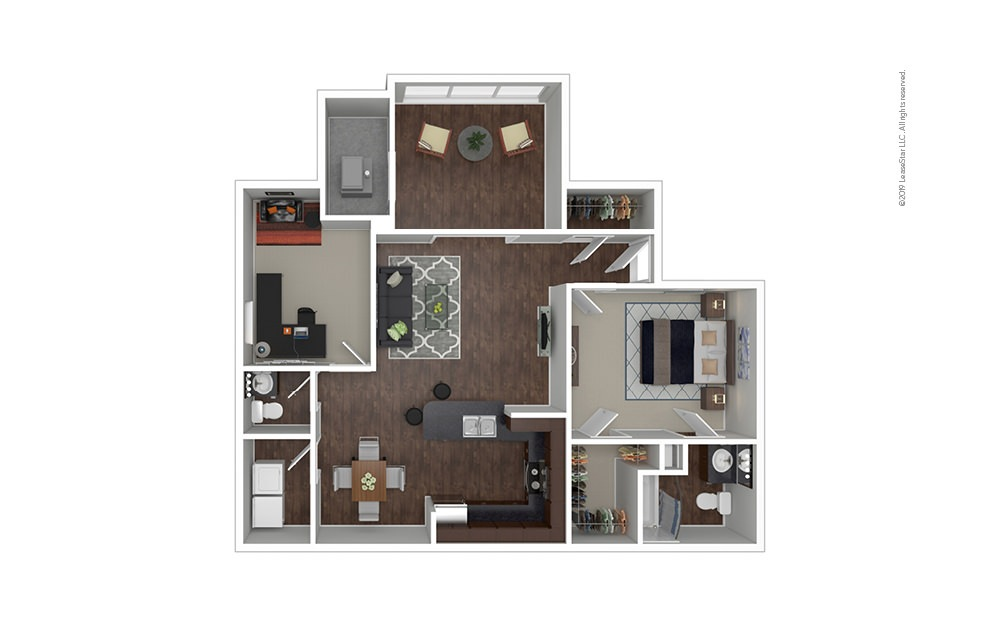 The Utah 1 bedroom 1.5 bath 1097 square feet