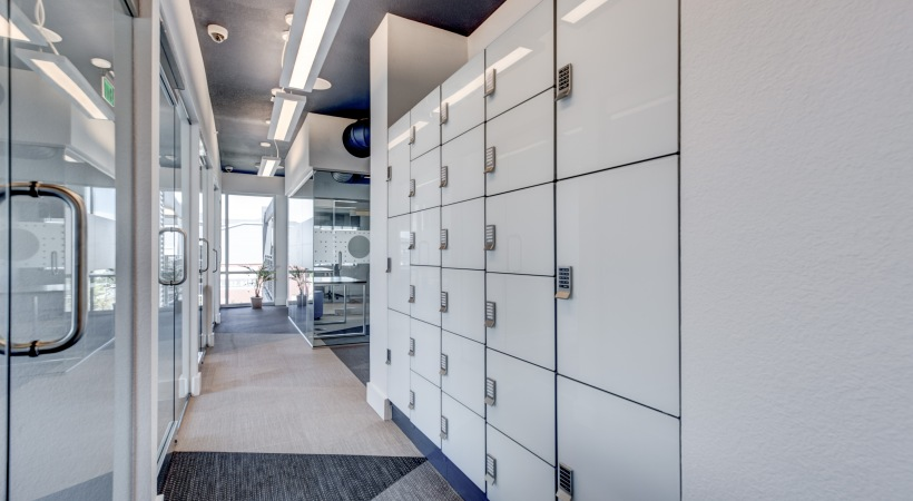 Coworking space's lockers at our luxury apartments in Lone Tree, CO