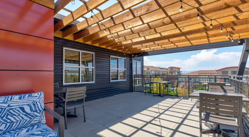 Outdoor lounge at our modern apartments for rent in Highlands Ranch, CO