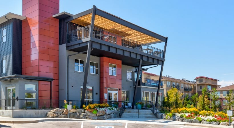 Exterior of Leasing Office at our upscale apartments near Parker, CO
