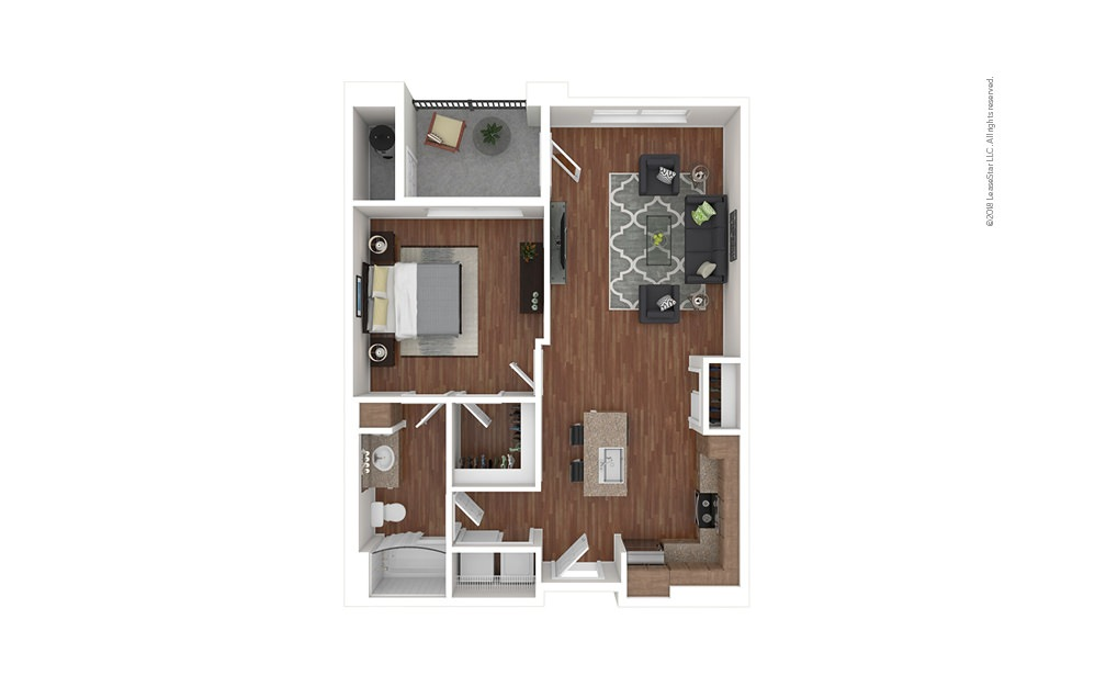 A1 1 bedroom 1 bath 751 square feet