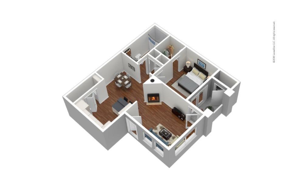 A1 1 Bed 1 Bath Furnished Floorplan