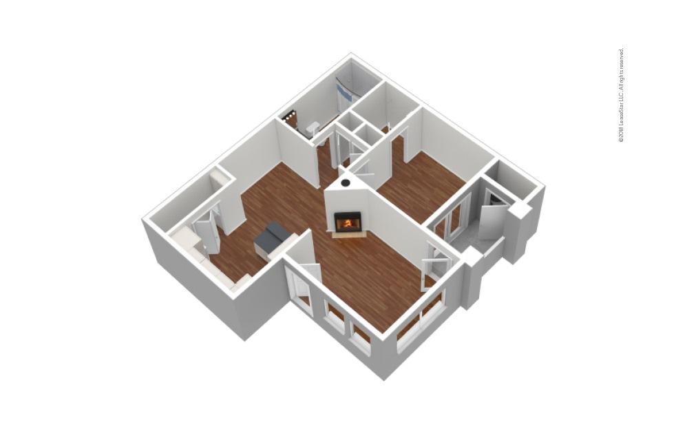 A1 1 Bed 1 Bath Unfurnished Floorplan