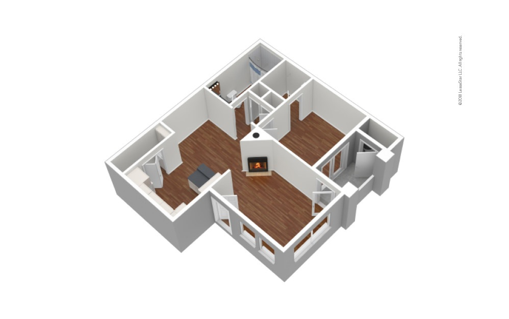 A1 1 Bed 1 Bath Unfurnished Floorplan