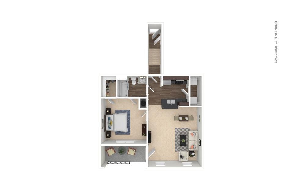 A1A  1 bedroom 1 bath 813 square feet