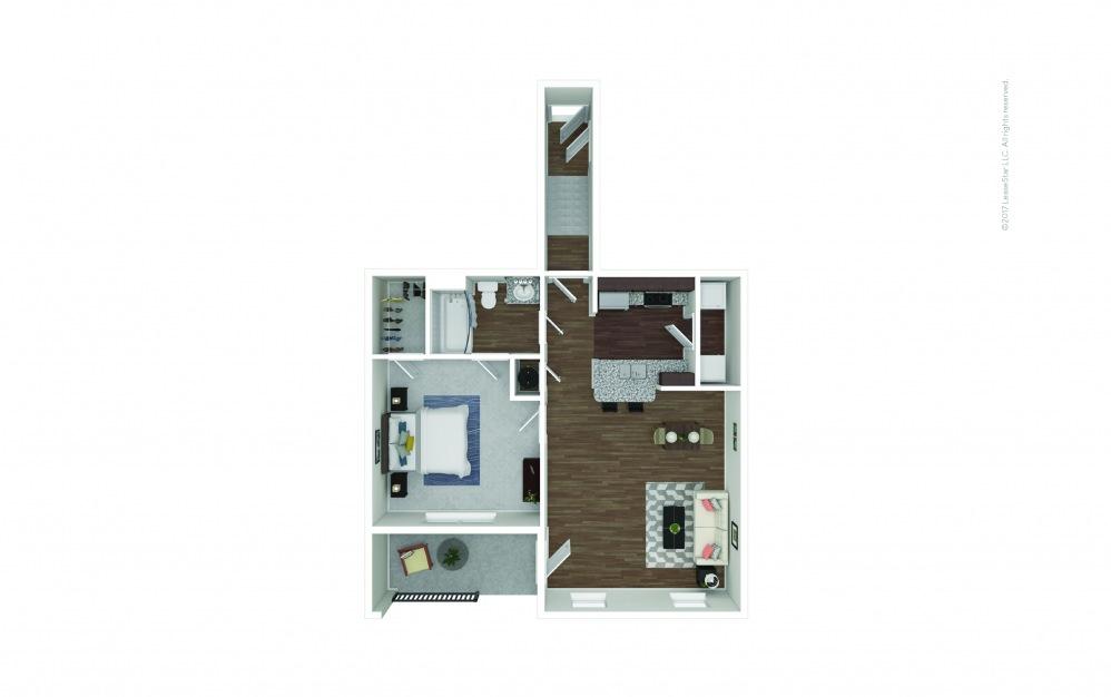 A1B 1 bedroom 1 bath 808 square feet