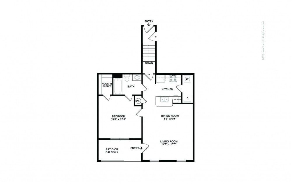 A1B 1 bedroom 1 bath 808 square feet (2)