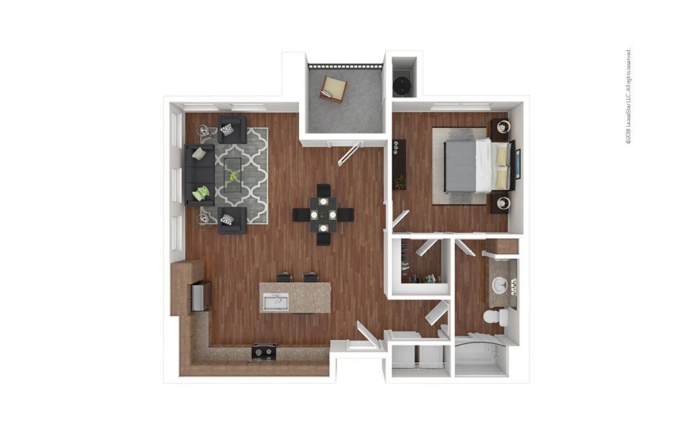 A2 1 bedroom 1 bath 828 square feet