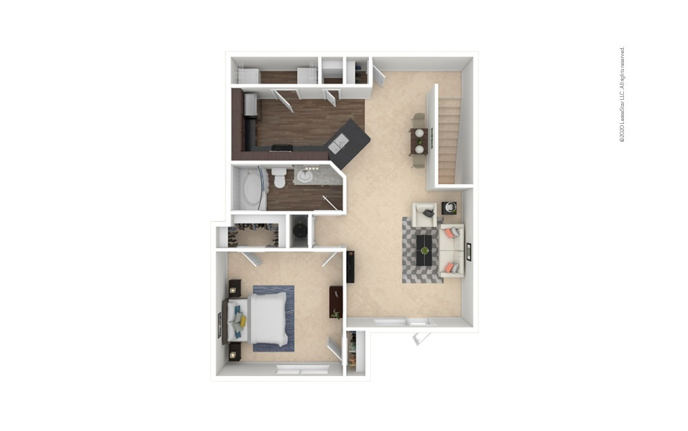 A2 1 bedroom 1 bath 951 square feet