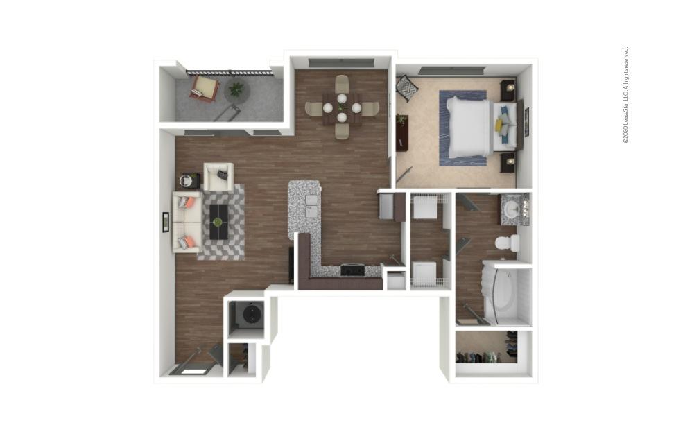A2 1 bedroom 1 bath 836 square feet