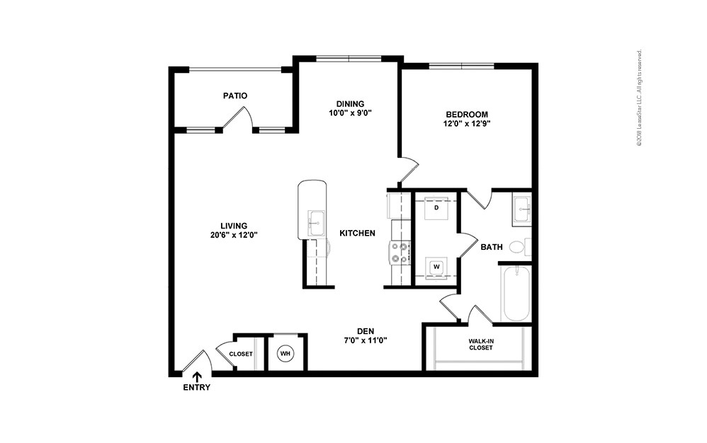 A6 with Den/Study 1 bedroom 1 bath 983 square feet (2)