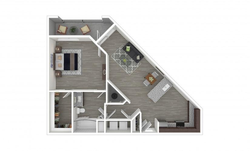 A3 1 bedroom 1 bath 815 square feet