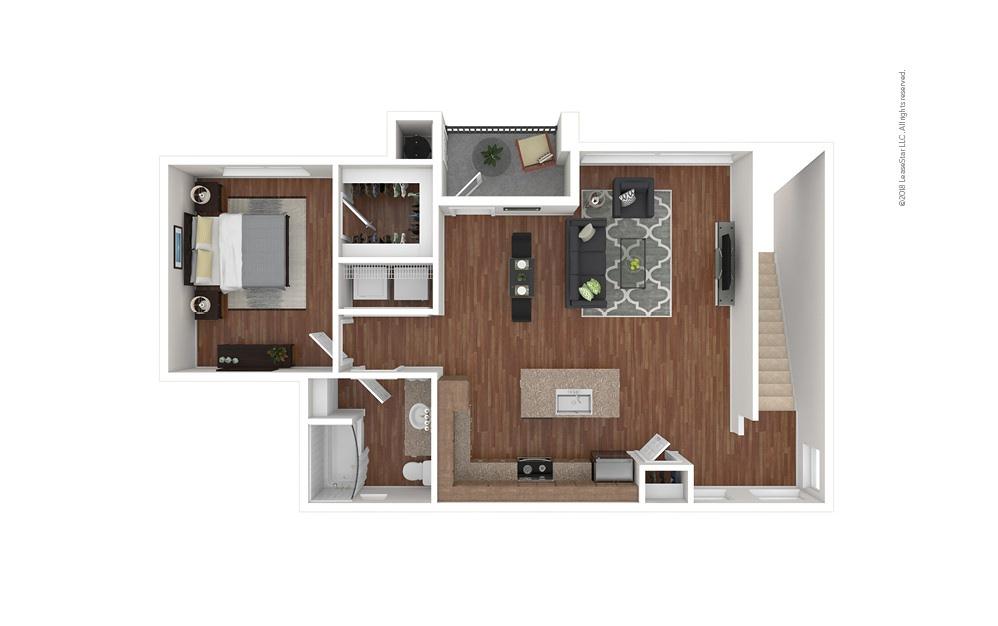 A3 1 bedroom 1 bath 990 square feet