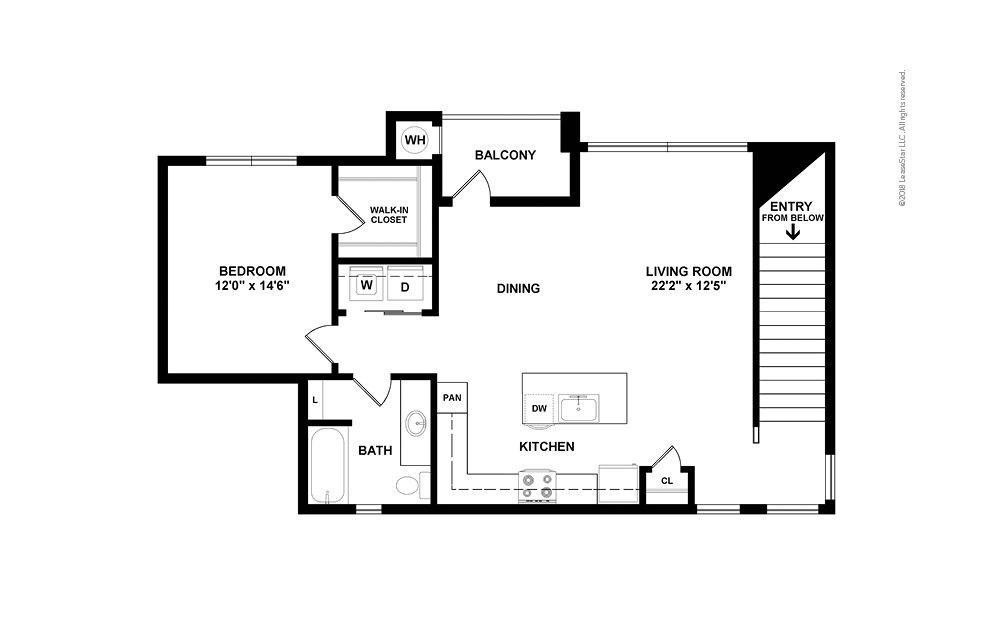 A3 1 bedroom 1 bath 990 square feet (2)