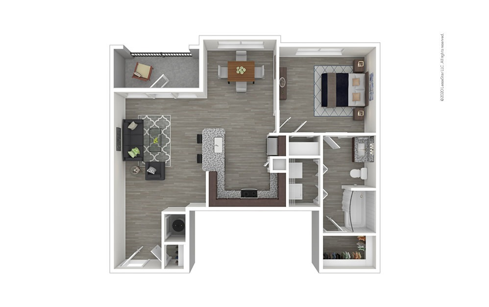 A4 1 bedroom 1 bath 838 square feet