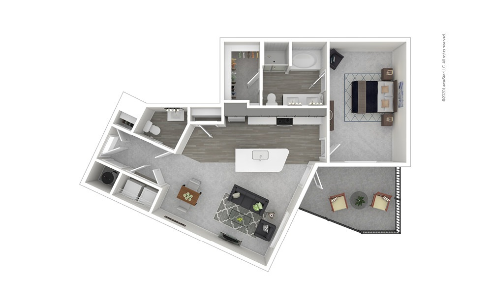 Alameda 1 bedroom 1 bath 919 square feet