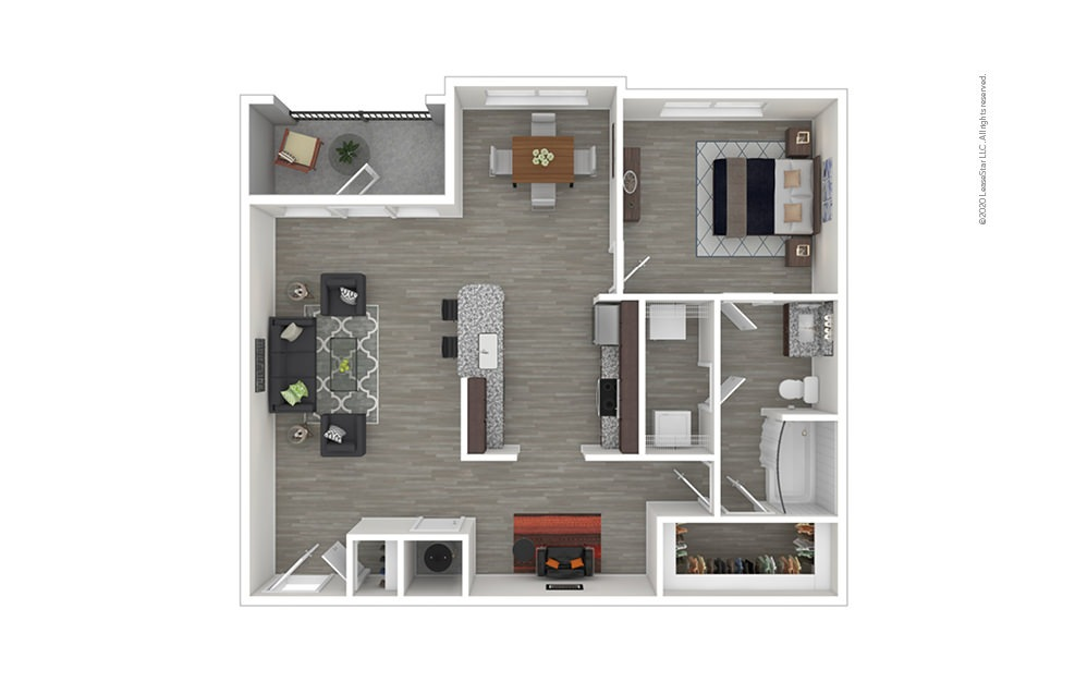 A6 with Den/Study 1 bedroom 1 bath 983 square feet