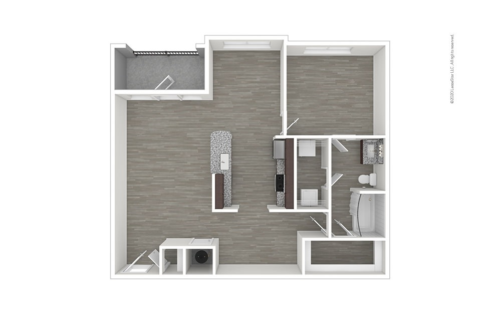 A6 with Den/Study 1 bedroom 1 bath 983 square feet (1)