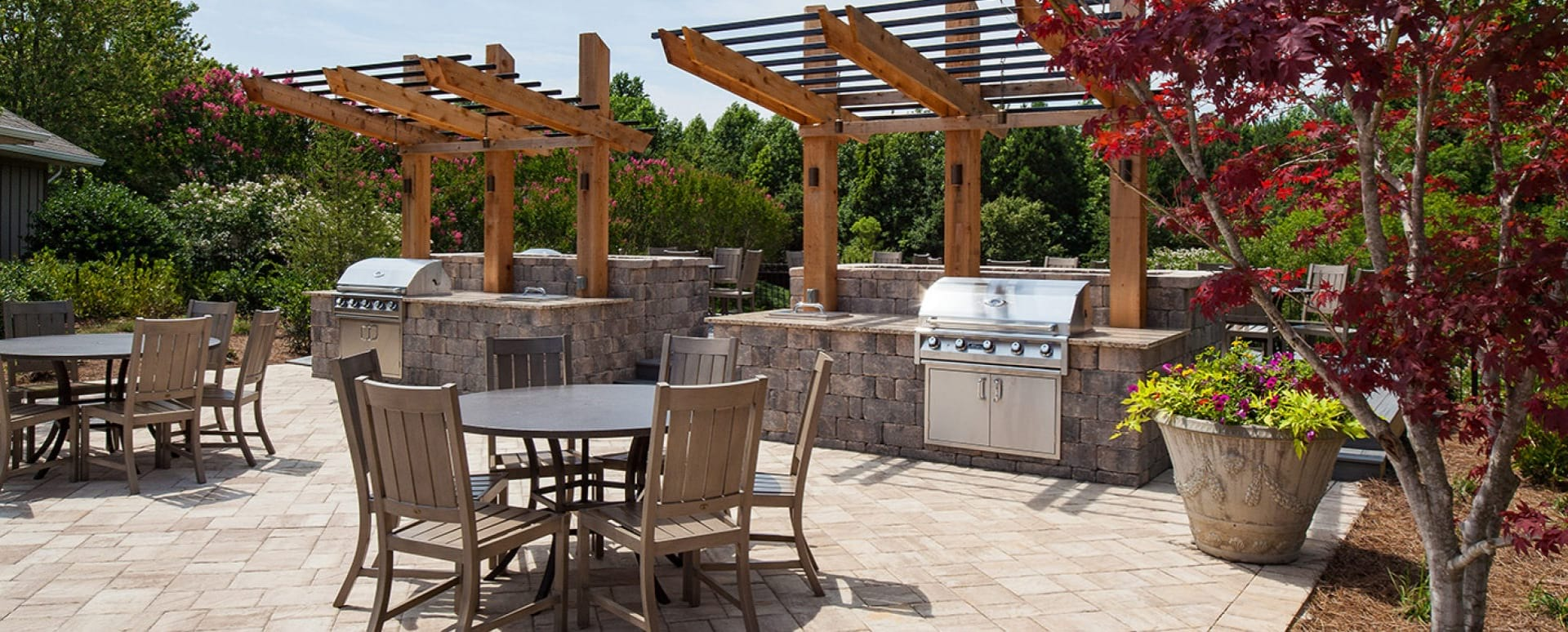 Outdoor kitchen with gas grills at Duluth apartments