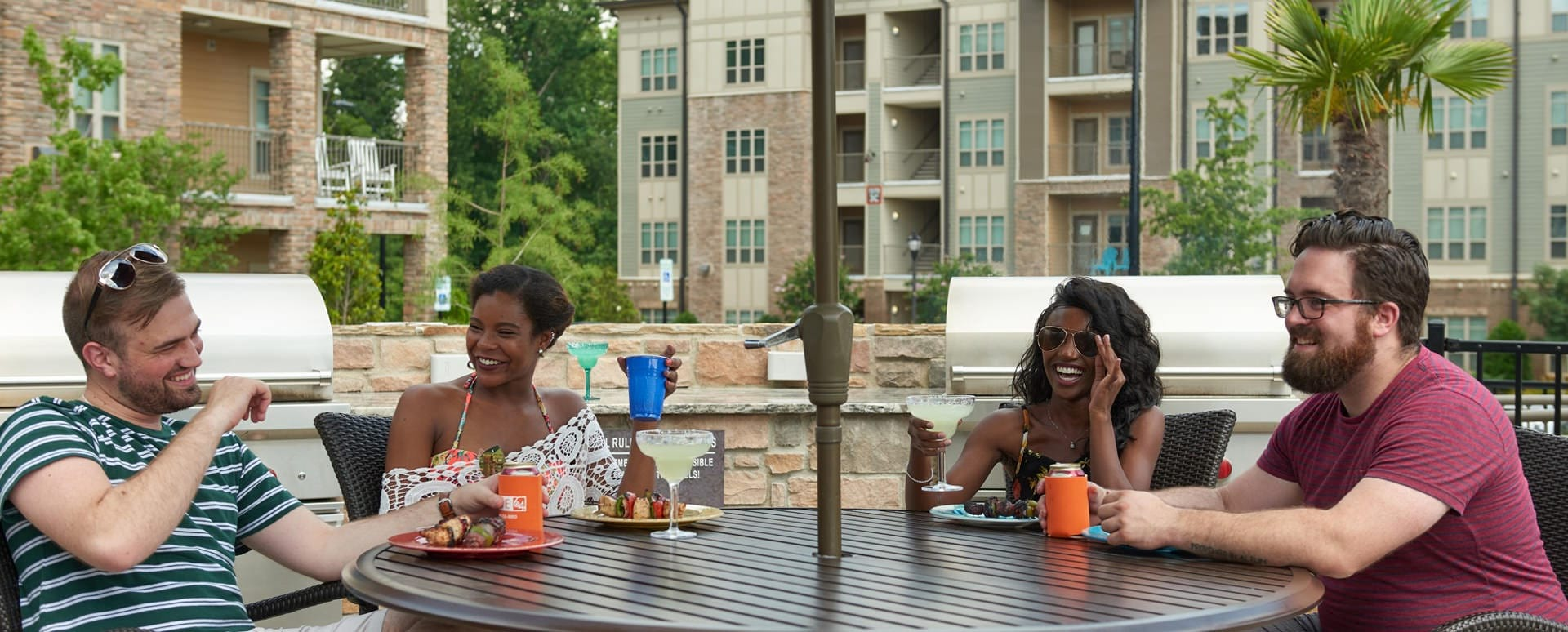 Residents enjoy outdoor grill