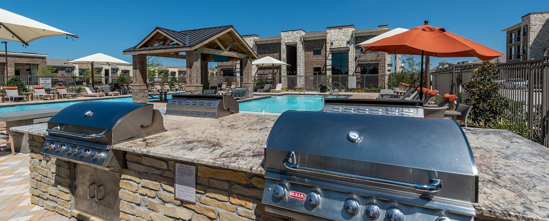 Outdoor gas grills at Cortland Phillips Creek Ranch