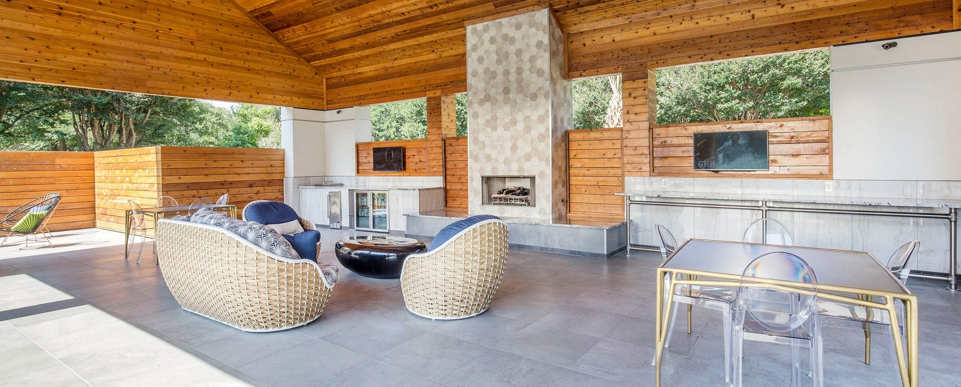 Outdoor Resident Lounge with Fireplace