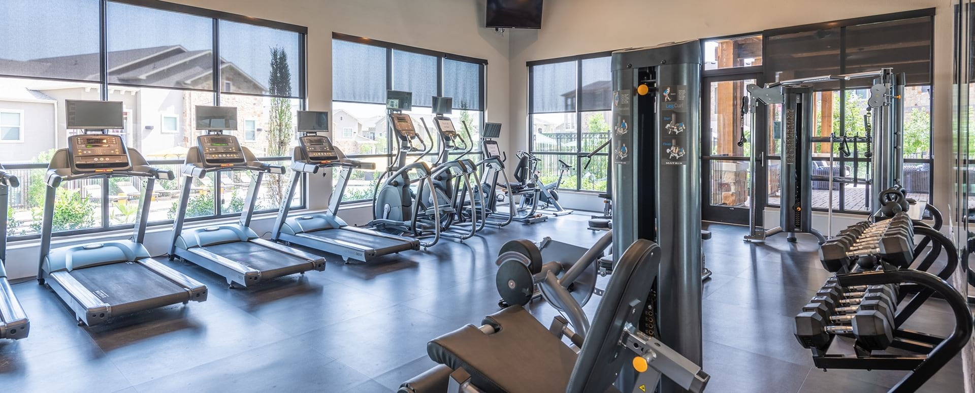 Fitness center at luxury apartments in Frisco, TX