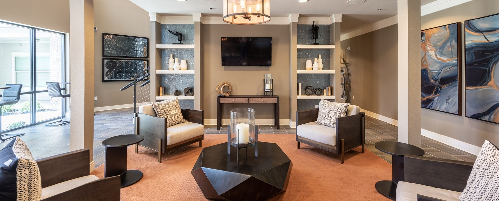 Apartment clubhouse with HDTVs at Cortland Presidio East