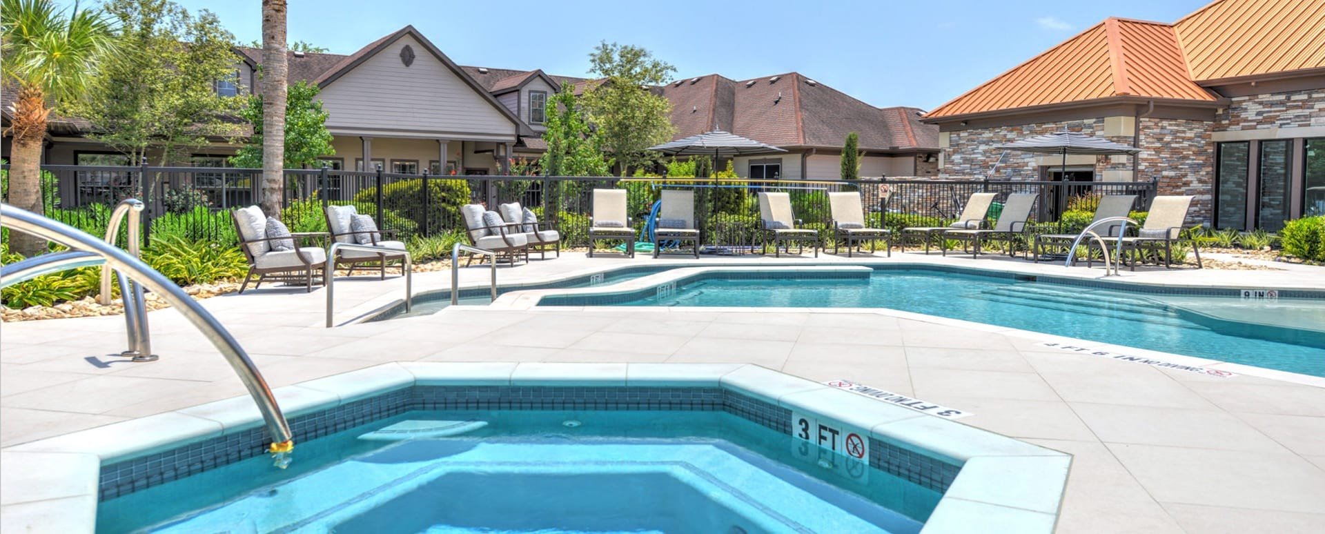 Resort style pool at active adult apartments