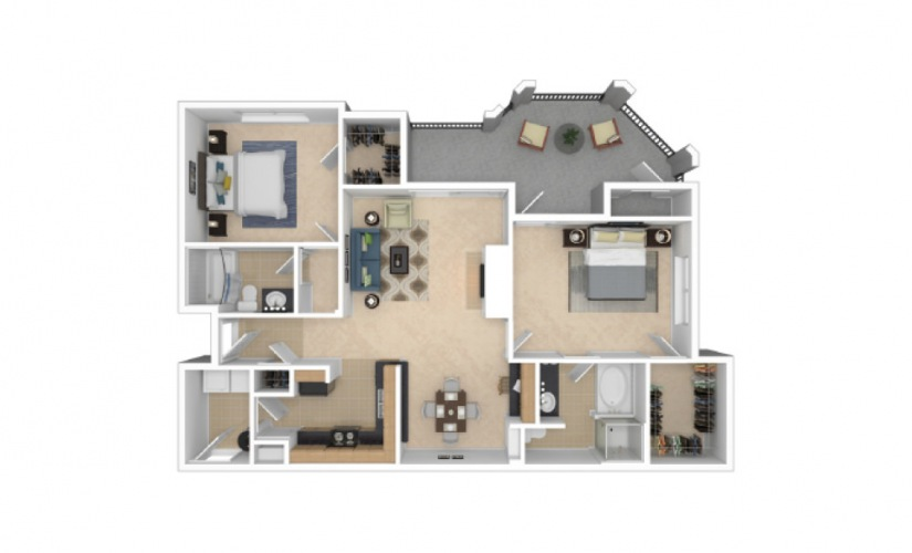 B10 2 Bed 2 Bath Floorplan