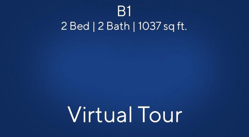 B1 Floor Plan, 2bed/2bath, 1037 sq ft