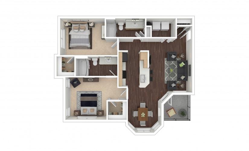 B1 2 bedroom 2 bath 1135 square feet