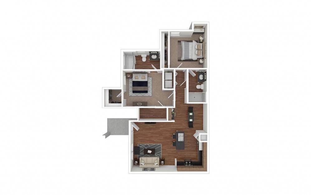 B1 - Texoma 2 bedroom 2 bath 956 square feet