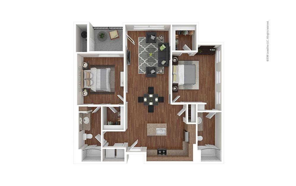 B2 2 bedroom 2 bath 1103 square feet