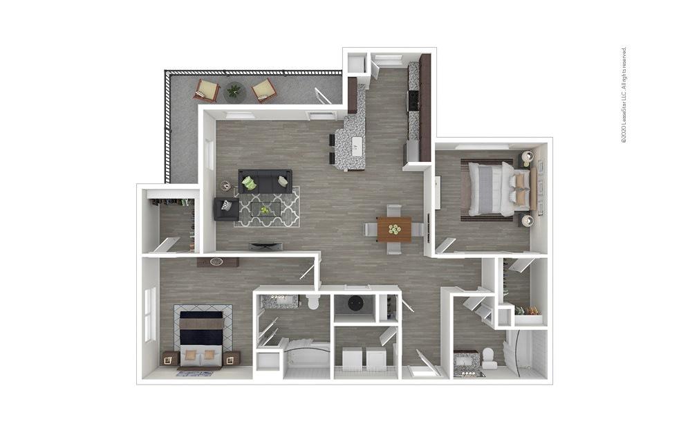 B2 2 bedroom 2 bath 1243 square feet